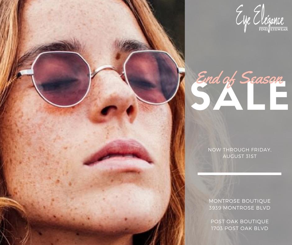 End of Season Sale on Eyewear at Eye Elegance